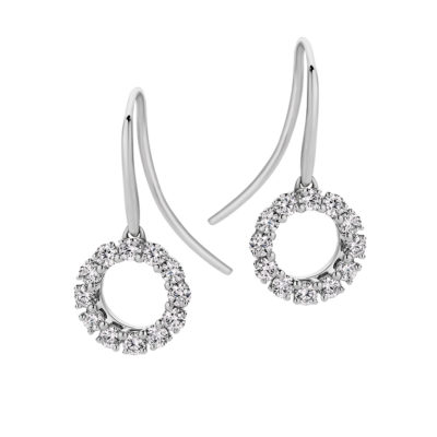 Passion8 Diamond Circle Sheppard Hook Earrings